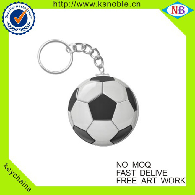 High quality custom football shaped cheap round metal keychain