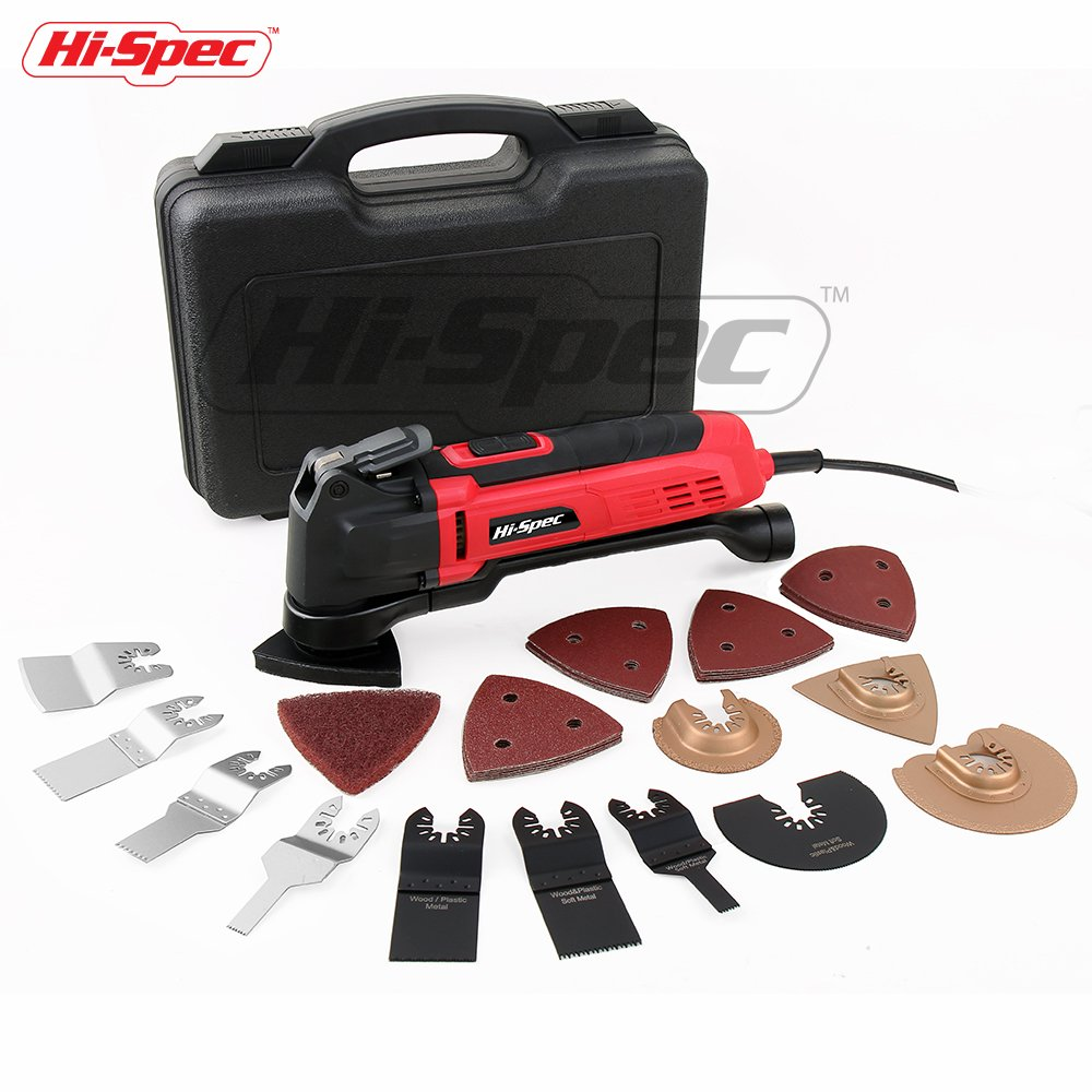 Hi-Spec 2.5A (300w) Oscillating Multi-Tool with Keyless Tool Changing, 38pc Accessory Kit and Variable Speed Switch for Sanding, Grinding, Cutting, Removing Grout and Stains - Multi-Function Power Too
