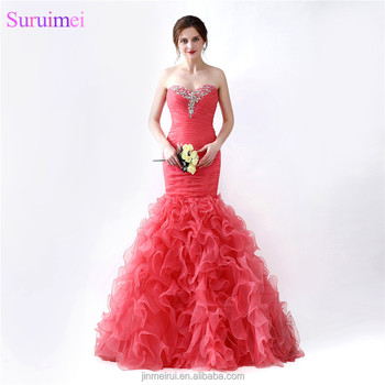 New Arrival Organza Red Coral Prom Dresses Sweetheart Bodice Beaded Ruffles With Short Train Formal Prom Gown