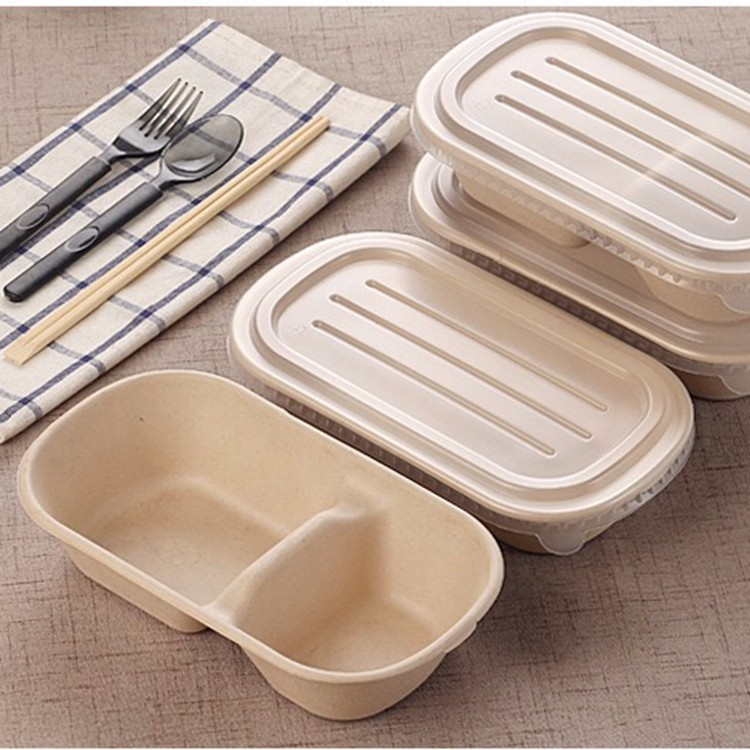 Disposable Food Containers Eco Friendly Biodegradable Wheat Straw Take Out Lunch Box with Spoon And Fork