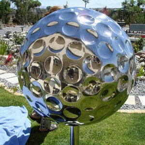 Sale of outdoor garden metal stainless steel golf ball sculpture