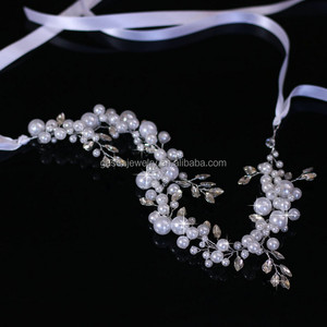 New Wedding Jewelry Pure White Yarn Bridal Hair Accessories Flower Headband With Imitated Pearl