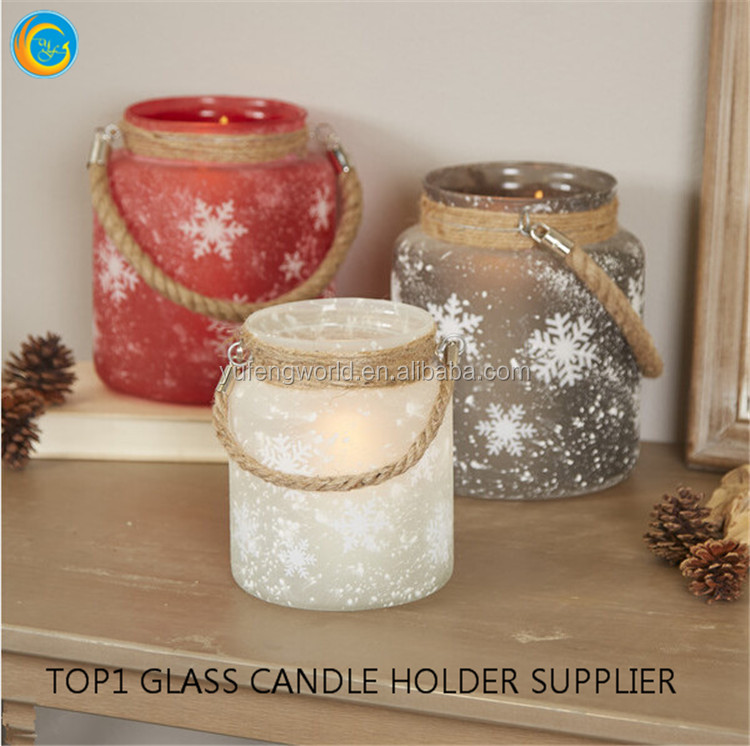 Glass Jar Tealight Holder Garden Candle Holder Lanterns with Rope Handle
