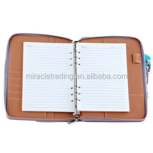 Top quality PU zipper bag planner with card holder wholesale leather notebook organizer for business