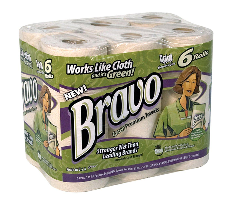 "Sellars 54406 Bravo Premium Disposable Towel, 11"" Length x 5-1/2"" Width, Green (4 Packs of 6 Rolls, 135 Sheets per Rolls)"