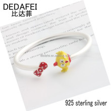 DEDAFEI Popular chicken cartoon bracelet lovely fashion 925 sterling silver children's jewelry