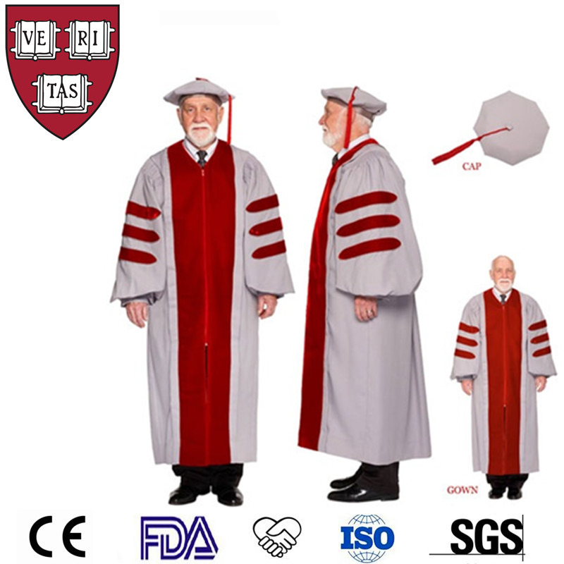 High Quality Customized Phd/Doctor Graduation Gown Tam Hood With Bullion Tassel US
