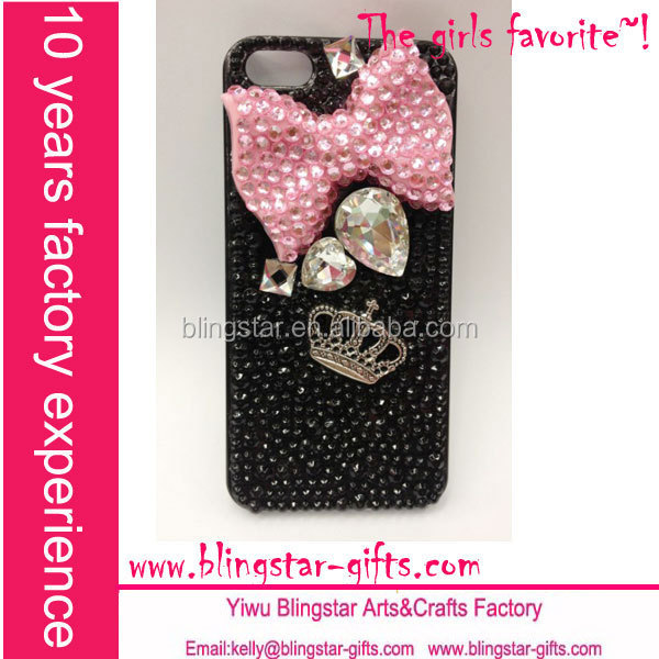 pink bow crown rhinestone bling phone covers