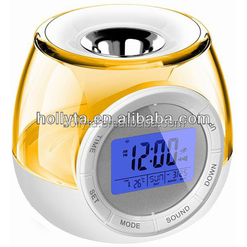 Hot Sale Nature Sounds Travel Alarm Clock with Colorful Mood Light and Aroma Heater