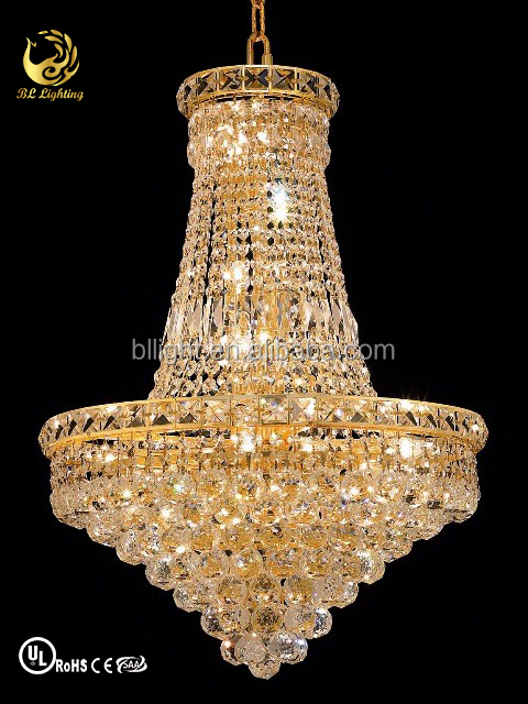 Luxury 24k golden plated chandelier crystal beads chain