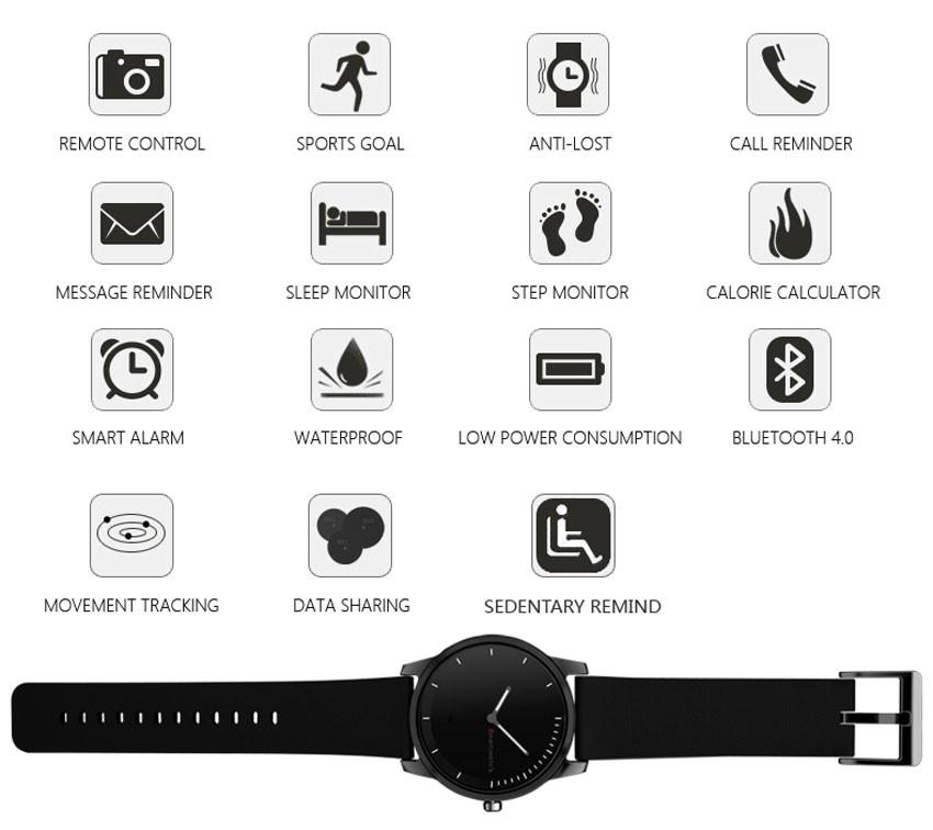 IP68 35M Real Waterproof BT Quartz Smartwatch