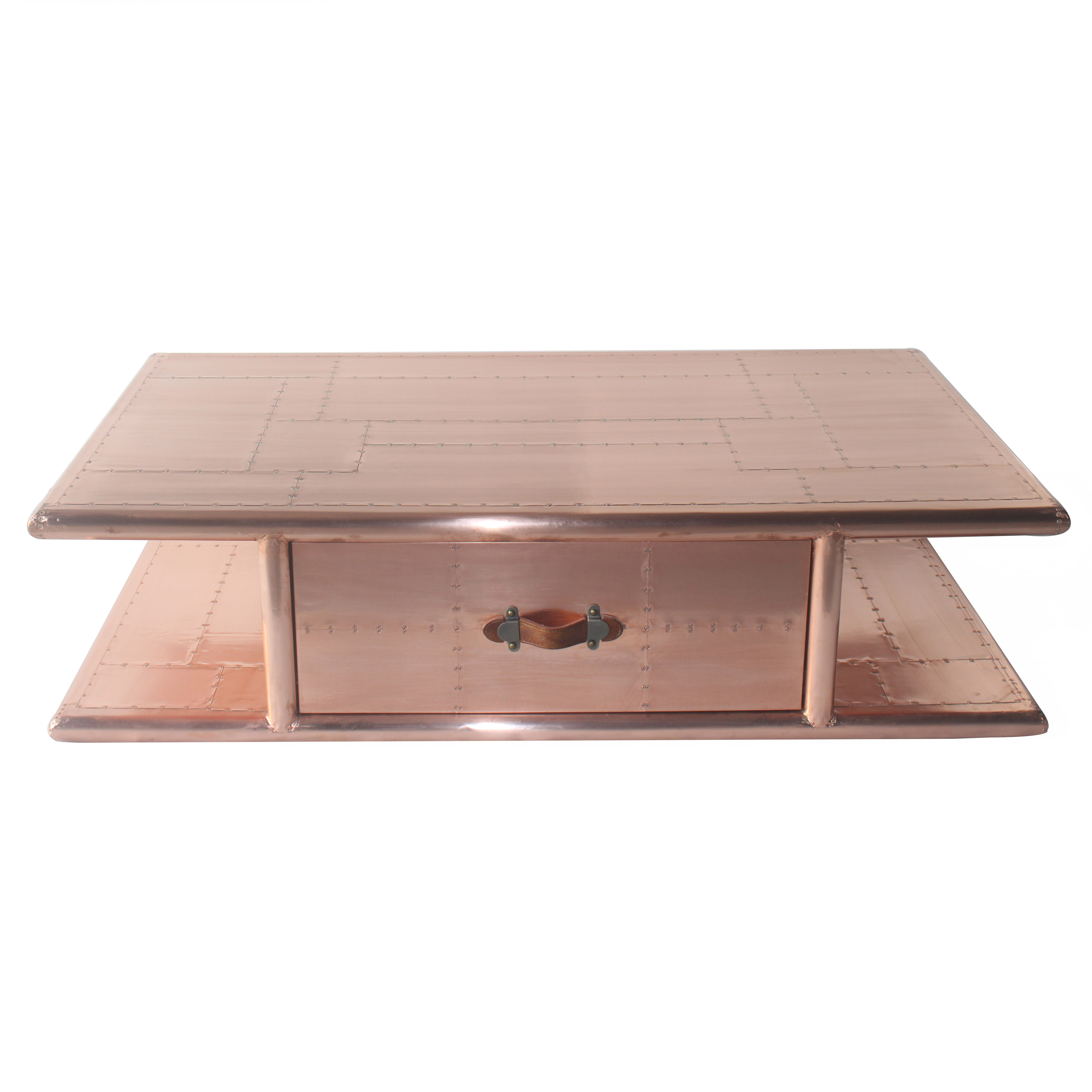 Riveted Vintage Copper Aviation Coffee Table with Drawer Use In Living Room Cafe