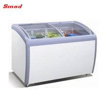 160-360L Curved Glass Sliding Door Ice Cream Chest Freezer Showcase With ETL & NSF
