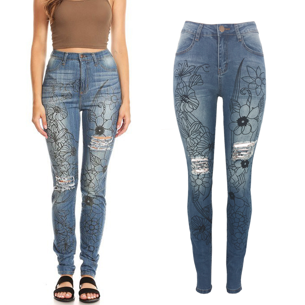 customize hot sale ladies denim ripped jeans women negotiate price