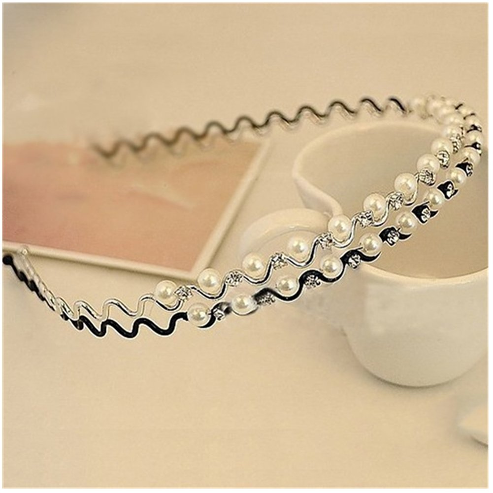 Casualfashion 3Pcs Casual Fashion Women's Pearls Hair Bands Headdress Shiny Rhinestone Hair Hoop Headband Wedding Jewelry
