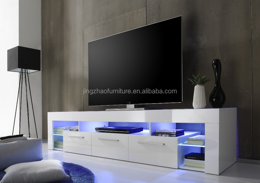 Tv 2337 Modern Wooden White High Gloss Led Tv Stands With