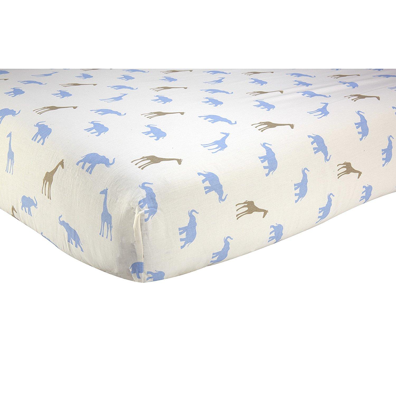 Blue Brown Safari Ed Crib Sheet