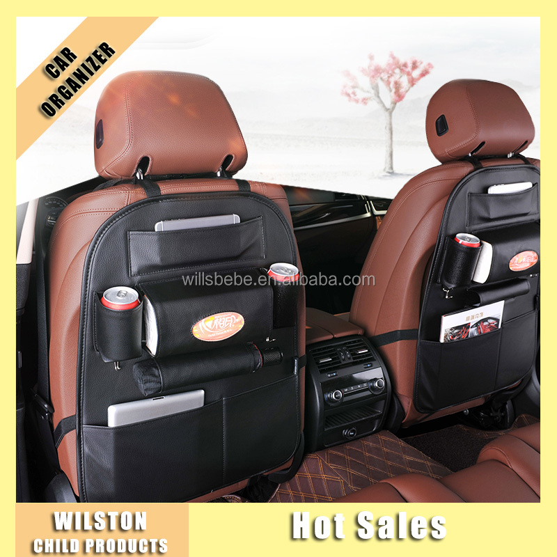 Multi- functional Tissue Holder PU Leather Car Back Seat Organizer