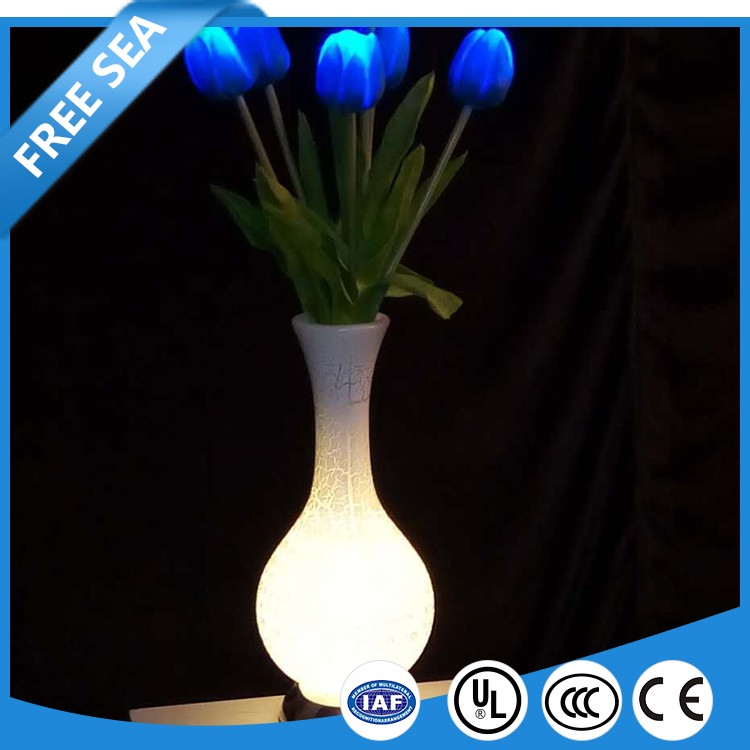 Colorful artificial tulip flowers home wedding decoration led light with EU AU plug operated