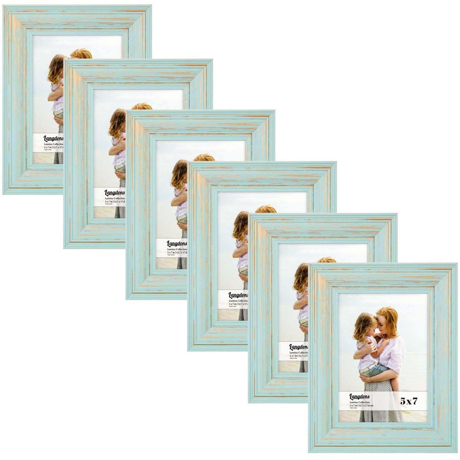 Langdons 5x7 Picture Frame Set (6-Pack, Eggshell Blue) Solid Wood Photo Picture Frames 5x7, Wall Hanging or Table Top, Display Picture Frame 5x7 Vertically or 7x5 Horizontally, Lumina Series