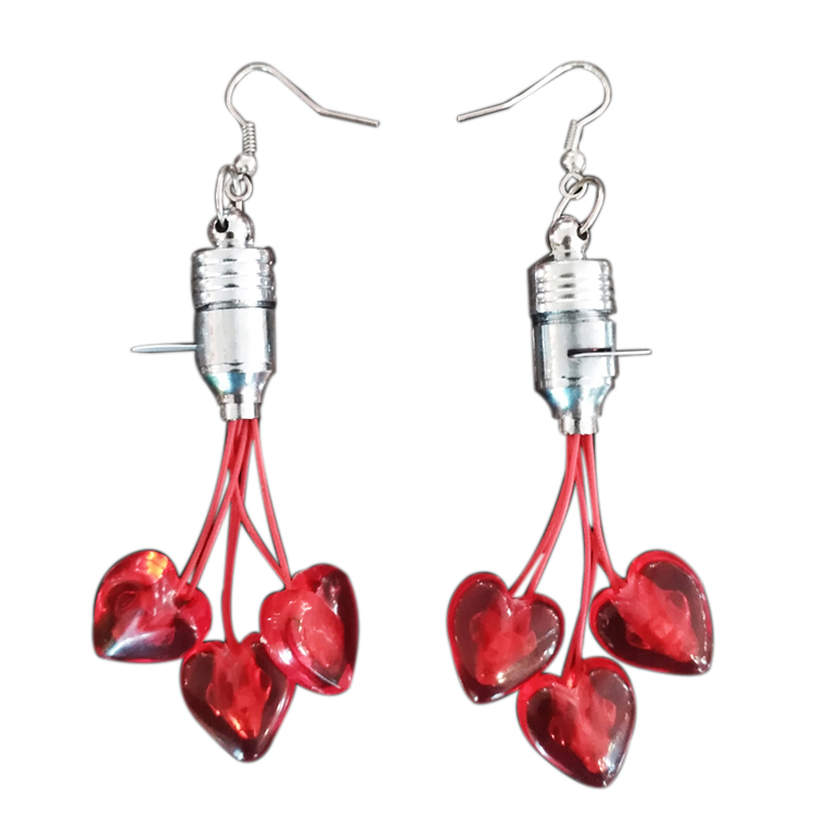 Valentines Day Party Decoration Red Led Flashing Light Up Earrings Up Design