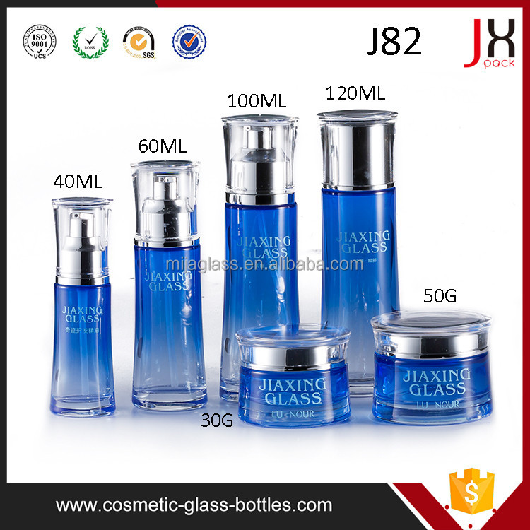 Free Sample 30g 50g Bule Glass Cosmetic Jar with Sliver/Plastic Lid