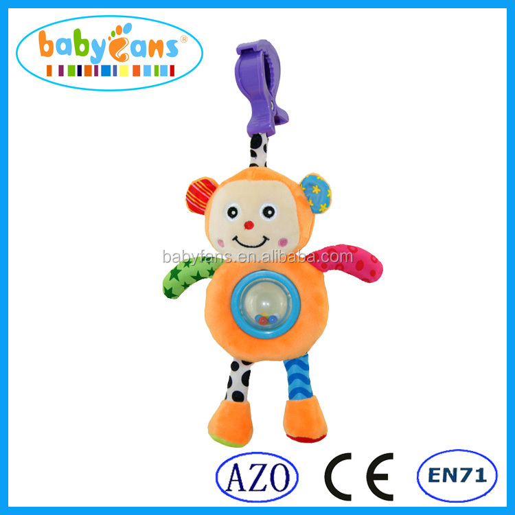Plush toy cheap hand shaped monkey rattle toy baby crib hanging toy for kids