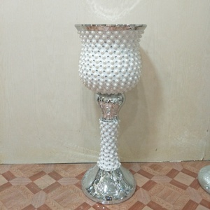 LARGE MOSAIC CRYSTAL CRUSHED MIRROR GLASS SILVER VASE DISPLAY WEDDING FLOWERS