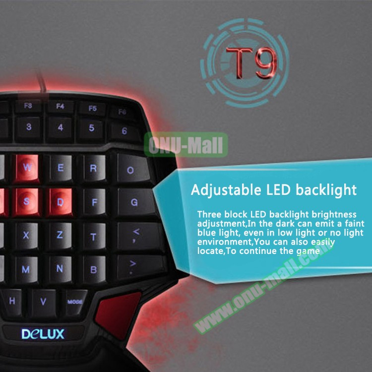 DELUX New Arrival Computer LED Backlight Wired Mechanical Gaming Keyboard