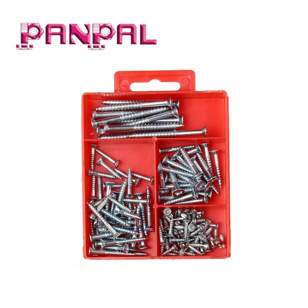 Hardware assortment sets 120 pcs cutting thread serrated shank galvanized wood <strong>screw</strong>