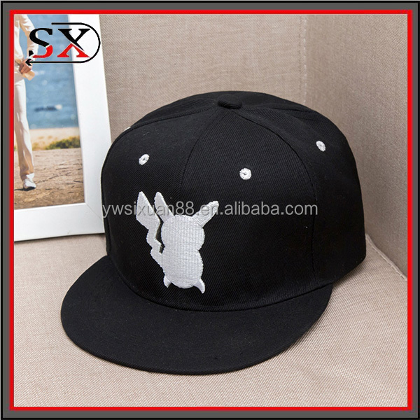 cotton twill 6 panel baseball caps and hats men pokemon logo custom design embroidered cap sports hat