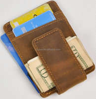 Mens Genuine Leather Magnet Money Clip Wallet