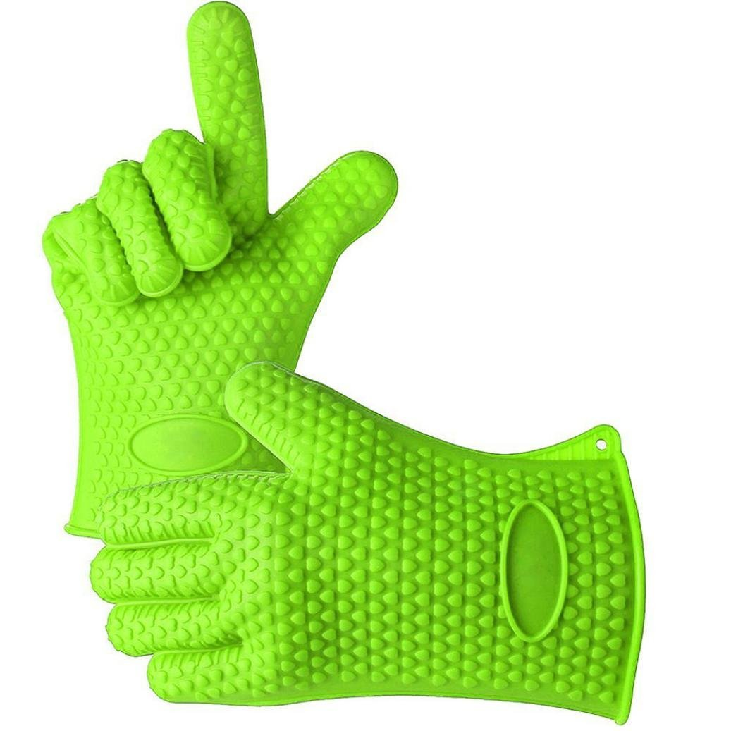 Binmer(TM) Kitchen Heat Resistant Silicone Glove Oven Pot Holder Baking BBQ Cooking Mitt (Green)