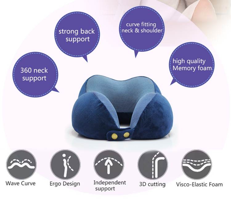 2018 New Product Personalized Custom Airplane U Shape Car Neck Rest Memory Form Travel Neck Pillow