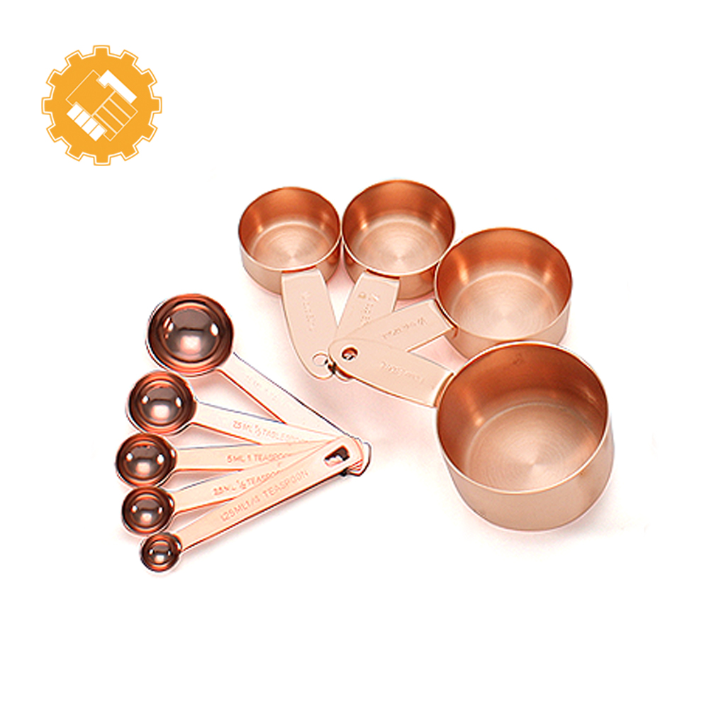 New 9-piece rose gold measuring cup and spoon set