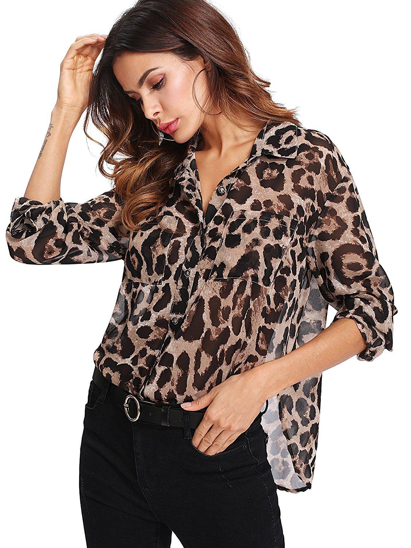 990aa2d5458 Get Quotations · Floerns Women's Long Sleeve Button Down Sheer Leopard  Print Chiffon Blouse