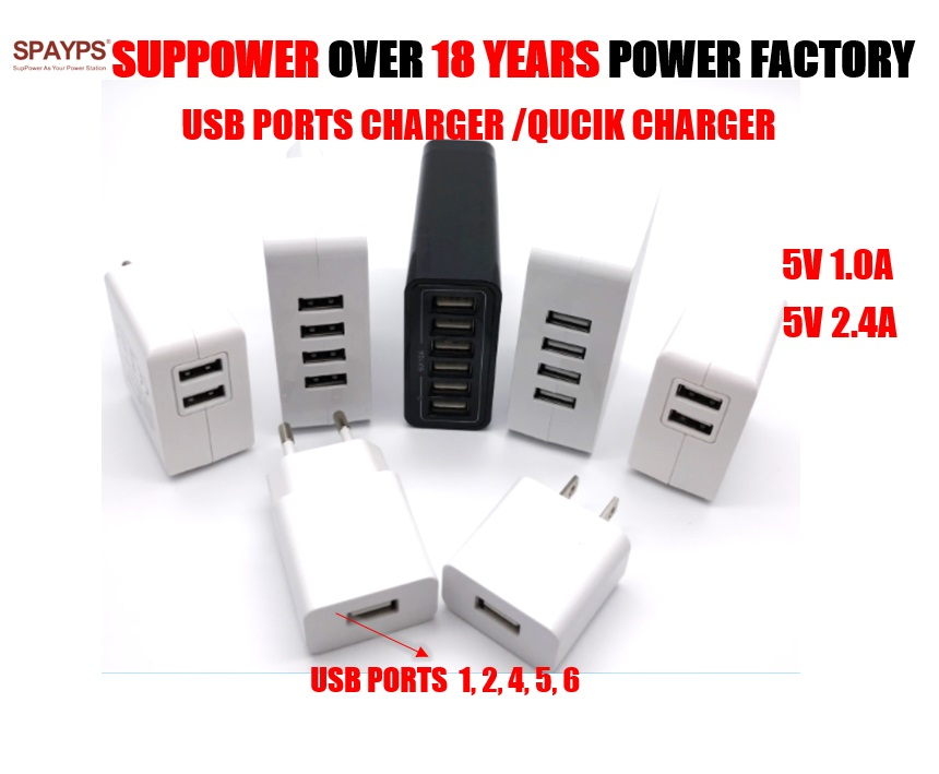 ONS EURO PLUG InterchangeableTravel adapter 5V SMART 2.4A QC 3.0 quick usb-poorten 2 3 4 5 6 multi usb fast charger