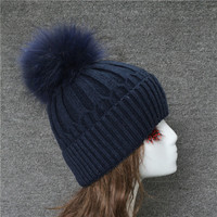 China factory large Furry MaoMao Cheap Price Luxury fur pompom Beanie Hat