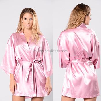913940ccae3 Night Wear Sexy Open Front Mid-Length Kimono Sleeves Waist Tie satin robes  women silk