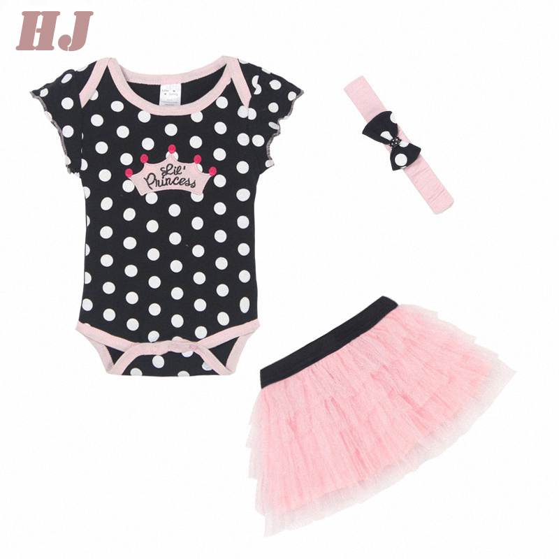 baby clothing set baby girl romper headband tutu skirt 3pcs sports suits newborn kids outfits Polka-dot Princess Tutu Dress