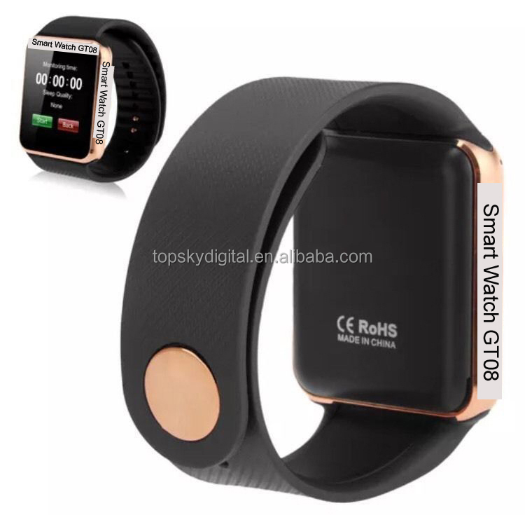 Hot selling GT08 Smart watch GSM watch phone support <strong>SIM</strong>/TF card with camera