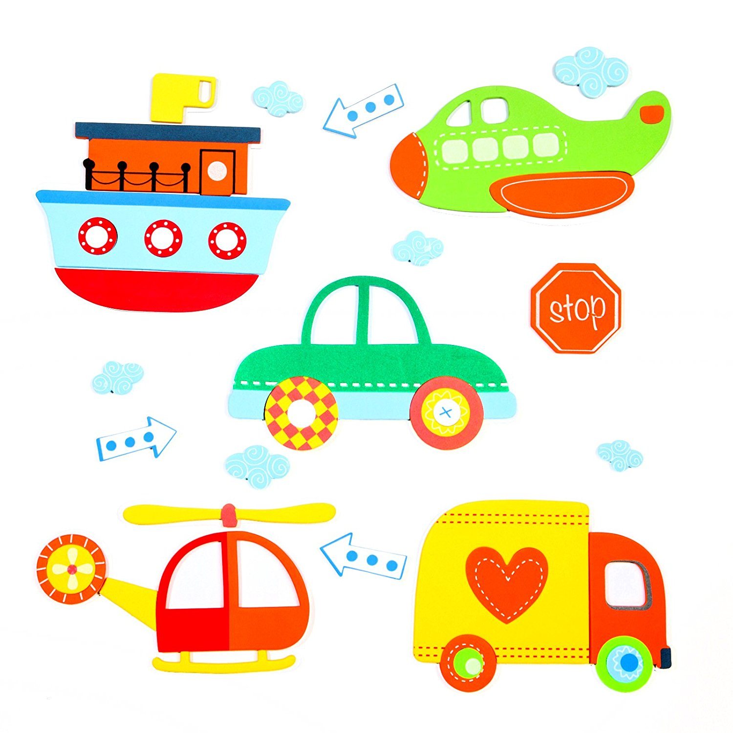 15 Premium 3D Wall Decals - Vehicles - Eco-Friendly - Reusable - Long Lasting - Easy Stick - Colorful - Foam Stickers - Kids Room Decals - Educational Sticker Decals - Nursery Baby Decor