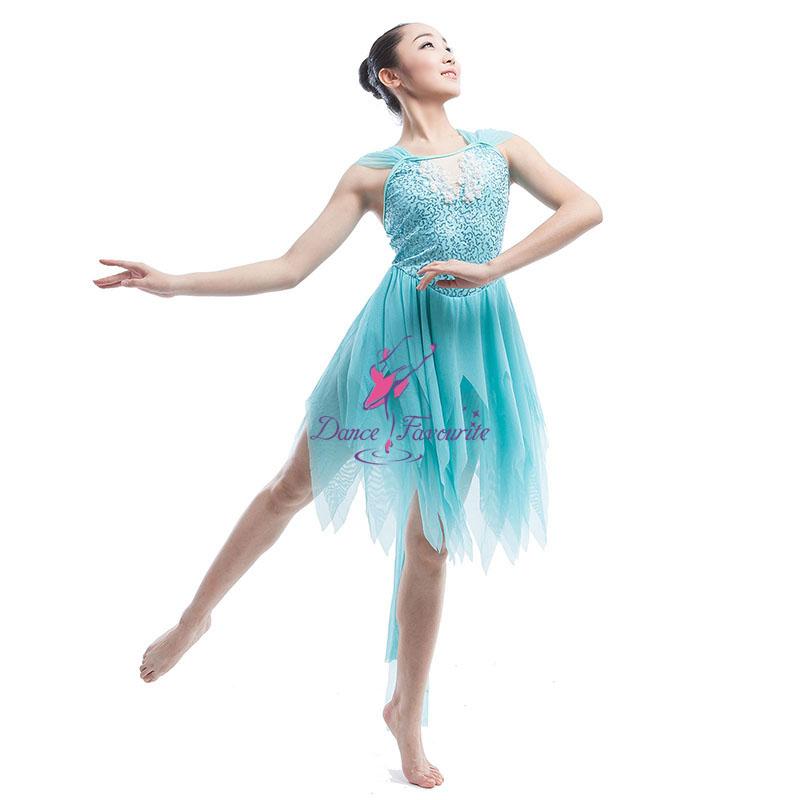 419bf454d0c9 Adult Girls Lyrical Dance Light Blue Sequin Mesh Ballet Dress Contemporary  Dance Costumes 16033