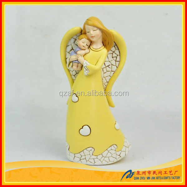 Polyresin angel wing decoration with wing