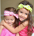 8pcs2016 New Item Wavy Stripe Fabric Kids Headbands Rabbit Ear Baby Infant Width Hair Band Girls