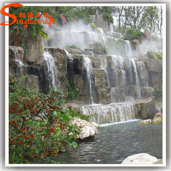 2015 hot sale new style high durability decoration china for Garden pond waterfalls for sale