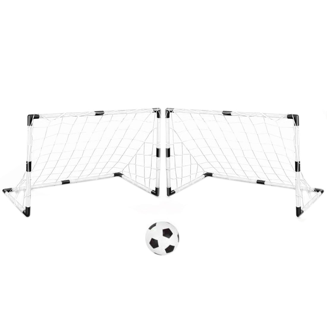 Soccer Goals, WOLFBUSH Set of 2 DIY Youth Sports Soccer Goals with Soccer Ball and Pump Practice Scrimmage Game - White