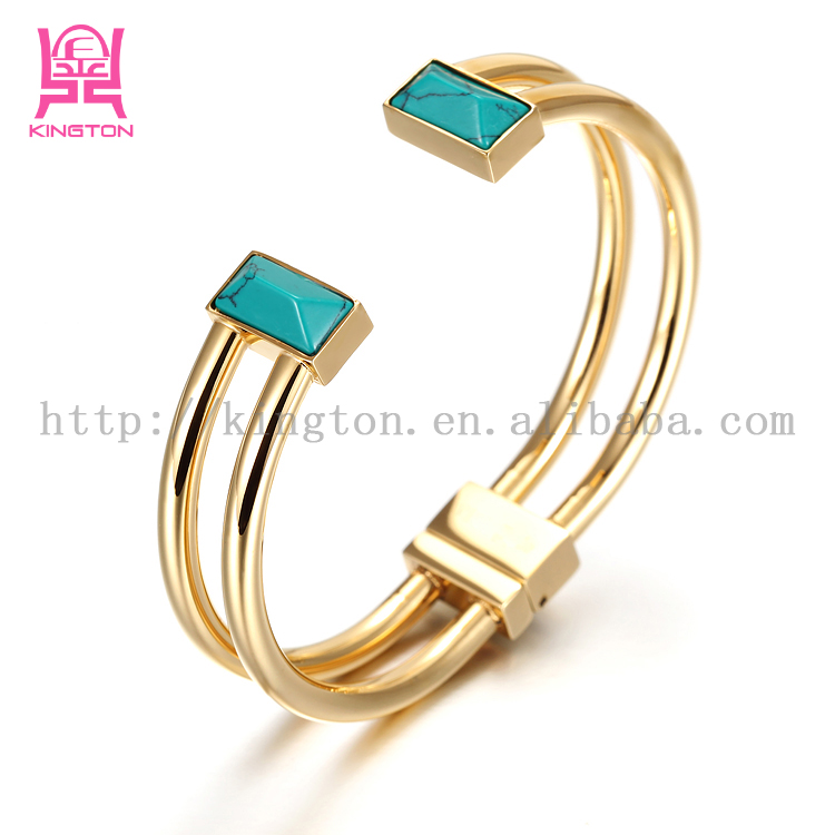2017 women Bracelet Natural Stones turquoise bracelet stainless steel jewelry cuff bangle