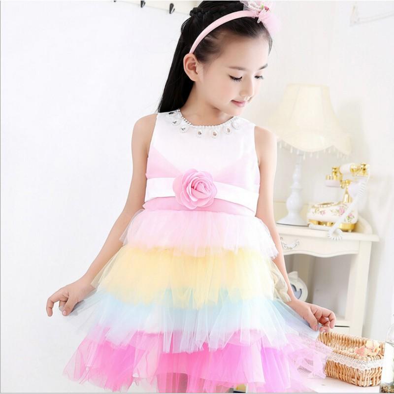 7c64b5223 Buy girl dresses 2015 princess flower tulle children clothing ...