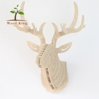 Wooden Moose Animal European Carving Hanging Ornament Deer Head Wall Decoration